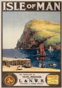 Milner's Tower, Bradda Head, Isle of Man. Vintage LNWR Travel poster by Sam J M Brown.
